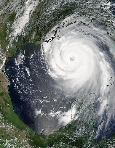 Hurricane Katrina - August 28, 2005: Hurricane Katrina approaches the Louisiana coast.