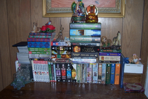 Books - the small collection of books I have, althought it has gotten bigger, I don't have newer photo's