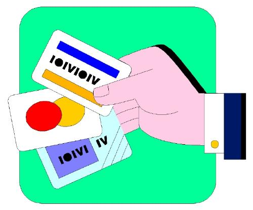 Credit Card - Bank institutions represented by a hands giving out credit card to its clients.