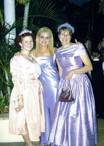 """Me in the middle with the """"illegal dress"""" - My friends and I, all school teachers, were attending a Glitz and Glamour Ball in Longreach held by the Primary school. We had a great time dressing up and dancing all night."""