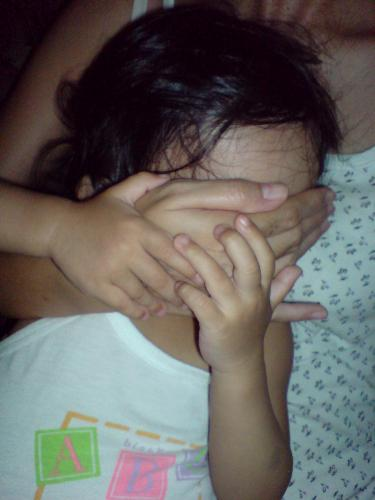 My shy baby... - This is my extremely shy baby... trying to cover her face with my hand...