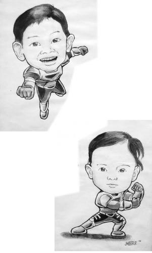 Zaido Caricature - This is a caricature of my two sons in Zaido costumes