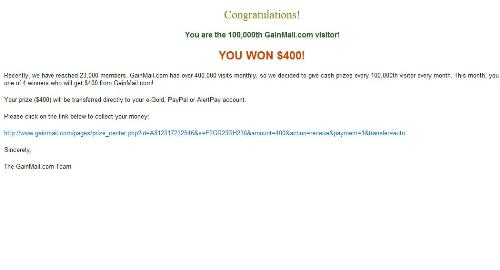 Fake winnings notification - Fake winnings notification said to be from Gainmail, previously also targeting Donkeymail.