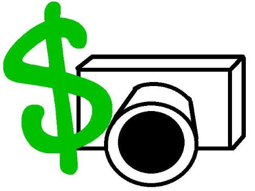 Camera Dollar Sign - An artistic rendering of a camera with a green dollar sign.