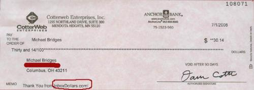 Proof of Inbox Dollars Payment - This is the check I received from Inbox Dollars.