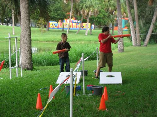Water games - This looks like a nice water game to play at a block party.