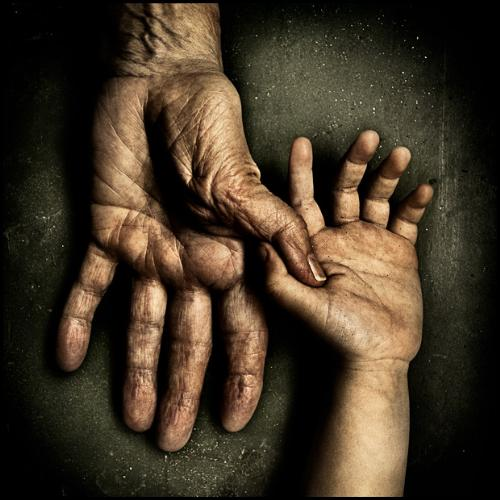 holding hand - my grandma is a farmer,her hands is very tough,even tougher than the one the picture, for so many years she worked so hard to support the family,now,when she's old,when she shoulf fully enjoy her life ,she couldn't,life is unfair,isn't it?