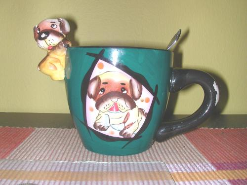 My favourite coffee mug - My favourite coffee mug, with a picture of a dog, and a tiny doggy hanging on the rim