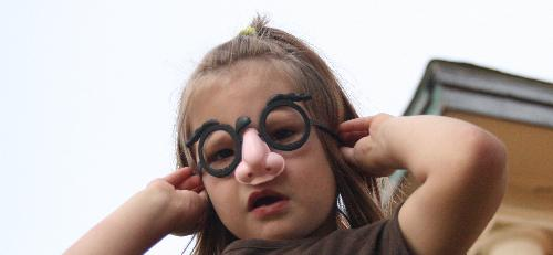 I see you - daughter playing with glasses