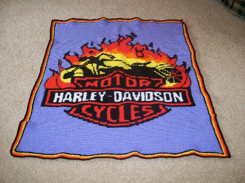 Harley Davidson Crocheted Afghan - This was a challenge but wow! I enjoyed it.