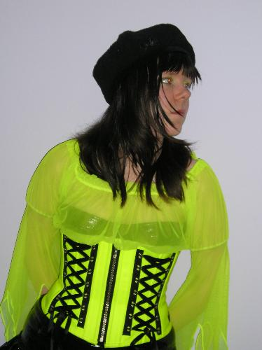 Neon yellow heavy duty corset - My neon yellow corset with some heavy duty boning.
