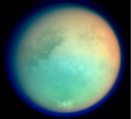 Titan - An image of Titan, a large moon of Saturn, as taken by the Cassini spacecraft.