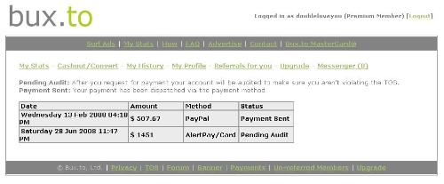 Proof of payment from Bux.to - This is a screen shot of when I was paid online by bux.to