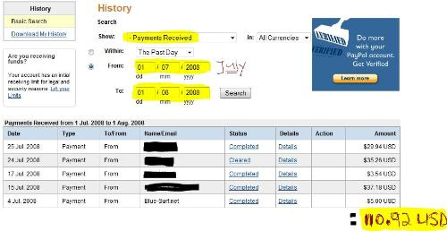 july earnings - paypal screenshot of my july earnings