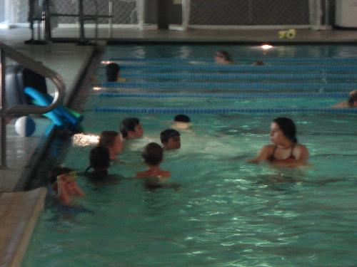 Swimming Class - Maddy with his instructor and class.