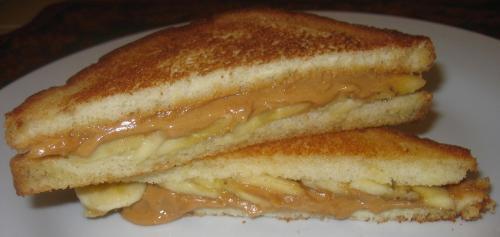 peanut butter and banana sandwich - peanut butter sandwich