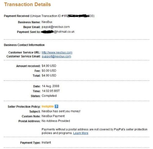 paypal payment detail for neobux - neobux paypal detailed payment
