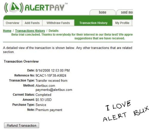 alertbux payment proof - this is an alertpay screenshot of my alertbux payment