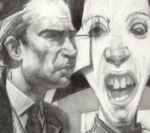 "Detail of drawing called "" Paranoid Shock"" Juan Go - Drawing of what a relationship can feel like..."
