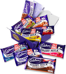 Types of chocolate - 8 different types of dairy milk chocolate   included are:  crunchie, whole nut, fruit and nut, plain, mint chips, caramel, turkish delight and double choc.