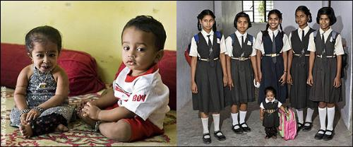 World's Tinniest Girl - Jyoti Amge with a neighbour's 13-month old baby and with her school friends.