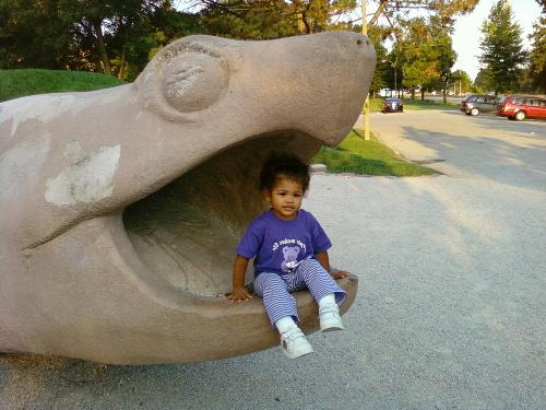 Turtle Park - My daughter in a turtles mouth at turtle park.