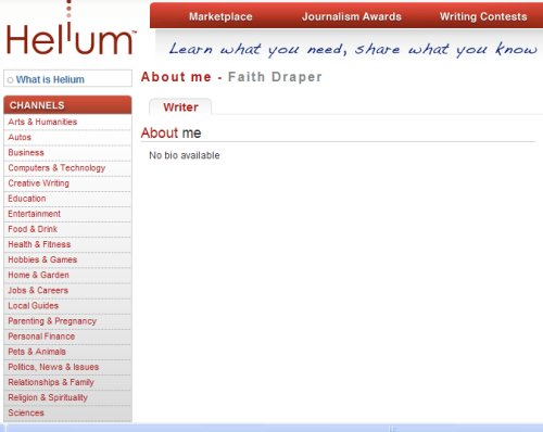Helium About Me Page - This screen shot is of my own Helium About Me Page - obviously I have not added much information at all and nothing in my 'bio'.
