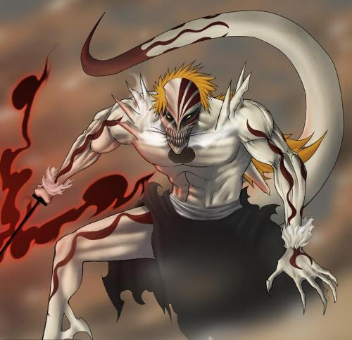 Hoolow Formed Ichigo Kurosaki - A Hollow Formed Ichigo Kurosaki, This Evoltuion were Experimented by Kisuke. The 'Mixed' Formed. A Bankai of an Shinigami and Hollow Form Like Ajucar. Unstopable Form that the Vaizards was afraid of.