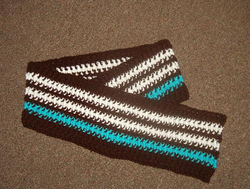 New Project -  This is a photo of the afghan I started, but I'm not sure if I'm going to stick with this pattern. I like the colors, but I'm not sold on the stitch.