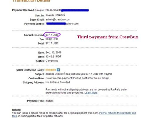 Thid Payment From CrewBux -  Just received my third payment from CrewBux. That will buy me bread and milk at the store tomorrow.