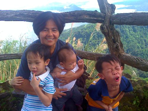 MY mother and my kids - My kids are very close to my mother and I like it that way. They love my mother as much as they love me and my mother took care of them. and she love them like she loces me too.