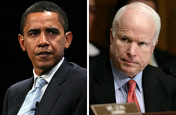 president - These are two of the candidates for the 2009 election for the new president. It is a picture of Barack Obama and John McCain.