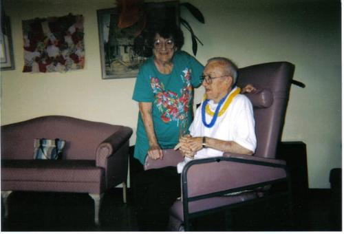 The last photo taken of my parents. - This picture was taken of Mom and Dad about two months before Dad died (Oct 2003). He was in a nursing home at that point. My daughter has the most recent photos of her on a memory card somewhere that were taken with me and my kids.