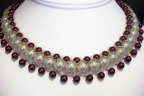 beaded necklace - This is my first right angle weave pattern.
