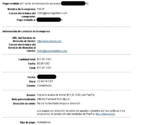 Mylot Payment Proof - Payment proof from myLot