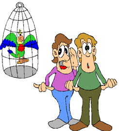 two boys standing by a bird cage with a blue bird - two boys standing by a bird cage with a blue bird in itwho are worried
