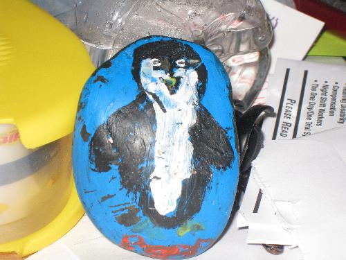 penquin pet rock - pet rock that my grandson painted