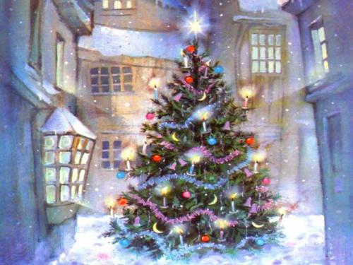 XMAS Photo - Photograph of a Christmas tree, covered in snow and decorations