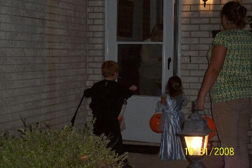 My son and his friend Trick or treating - My son and his friend trick or treating