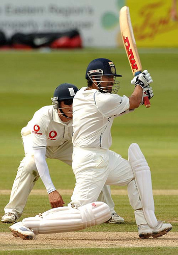 Sachin hits a century in Nagpur test. - Sachin hits a century in Nagpur test. After struggling through the usual nervous 90s - including a missed catch and 11 balls on 99, Sachin has completed another test century! Congratulations on the achievement and I hope this helps India win this series against Australia!