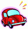 a small red car similar to a volkswagon - a small red car similar to a volkswagon
