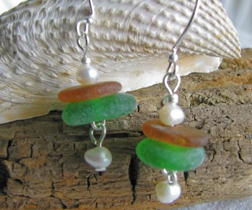 Green & Brown Sea Glass Earrings - This mini-stack is in my other shop, 1000 Markets.