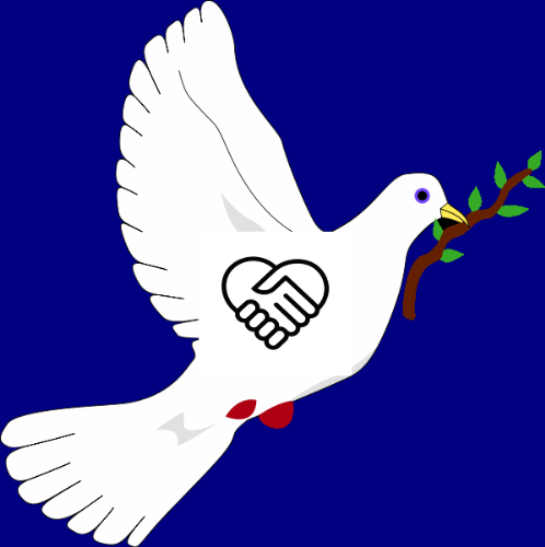 symbel of peace and friendship. - the dove os for peace, the handshake shows friendship.