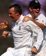 It is one of the photo from todays play - Grame swann took 2 wikets in first over