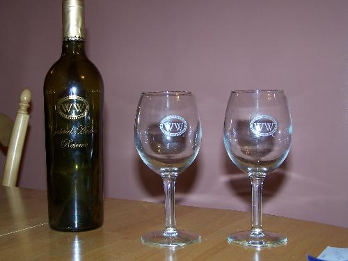 Williamsburg Winery - Our tasting glasses and a bottle of wine from the winery