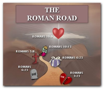 the romans road - this road will lead to everlasting life which will bring us back to the Lord.
