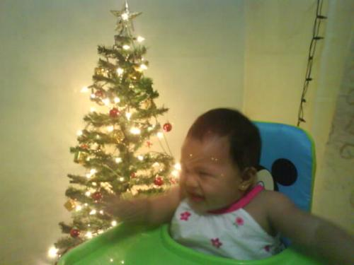 Hailey's first Christmas tree - Photo is taken with Hailey's very first Christmas tree..