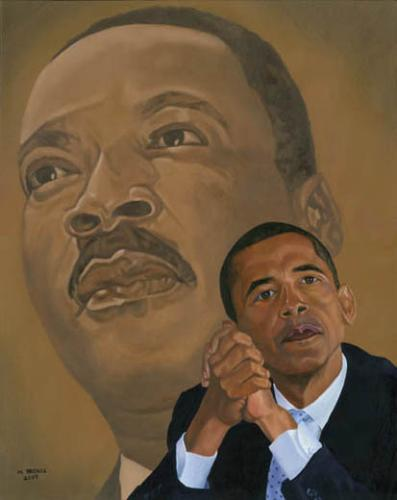 Barack Obama Martin Luther King Painting - This is an original painting.