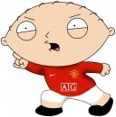 Manchester united - Stuey dressed in a manchester united kit