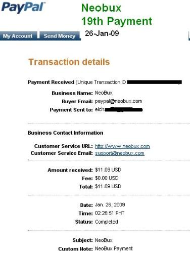 Neobux Payment - 19th Payment from Neobux